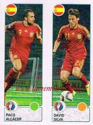 Panini Euro 2016 Stickers - N° 378 - Paco ALCACER + David SILVA (Espagne)