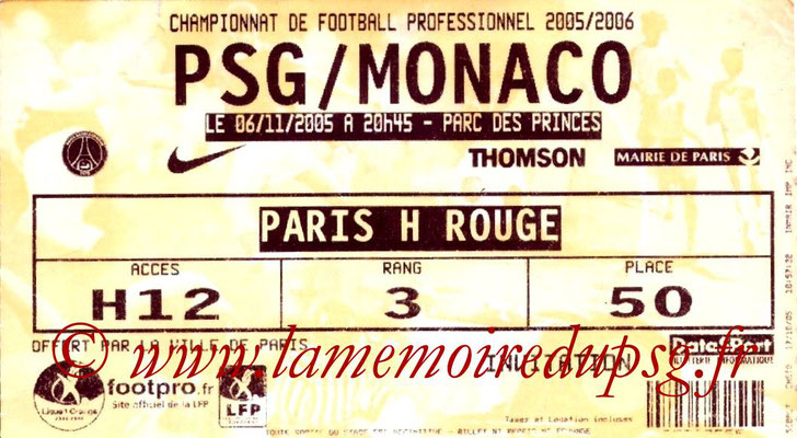 Tickets  PSG-Monaco  2005-06
