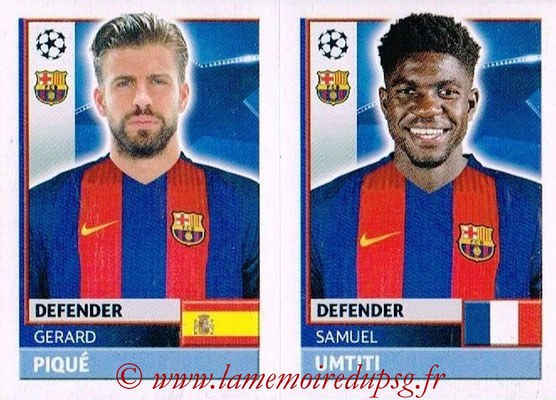 2016-17 - Topps UEFA Champions League Stickers - N° FCB 8-9 - Samuel UMTITI + Gerard PIQUE (FC Barcelone)