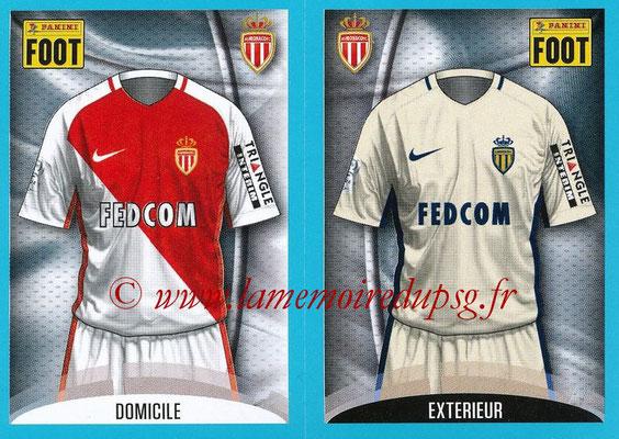 2016-17 - Panini Ligue 1 Stickers - N° 468 + 469 - Maillot Domicile + Extérieur (Monaco)