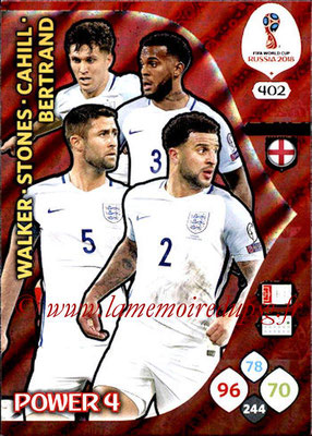 2018 - Panini FIFA World Cup Russia Adrenalyn XL - N° 402 - Kyle WALKER + John STONES + Gary CAHILL + Ryan BERTRAND (Angleterre) (Power 4)