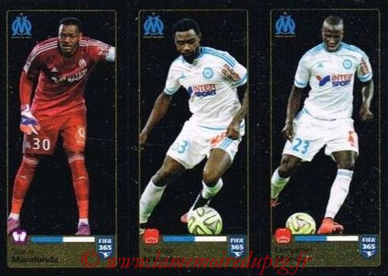 2015-16 - Panini FIFA 365 Stickers - N° 413-414-415 - Steve MANDANDA + Nicolas N'KOULOU + Benjamin MENDY (Olympique de Marseille)