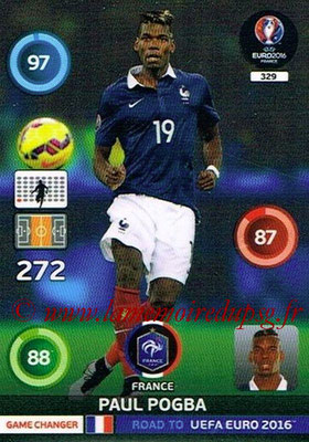 Panini Road to Euro 2016 Cards - N° 329 - Paul POGBA (France) (Game Changer)