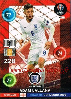Panini Road to Euro 2016 Cards - N° 066 - Adam LALLANA (Angleterre)