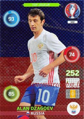 Panini Euro 2016 Cards - N° 322 - Alan DZAGOEV (Russie) (Top Joueur)