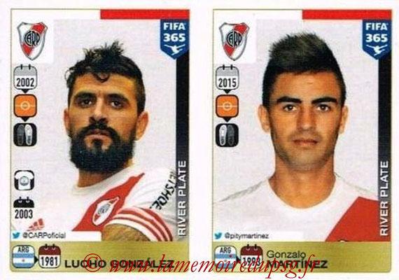 2015-16 - Panini FIFA 365 Stickers - N° 123-124 - Lucho GONZALEZ + Gonzalo MARTINEZ  (River Plate)