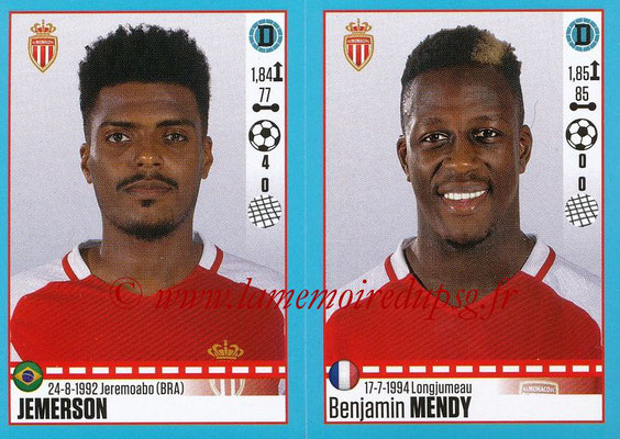 2016-17 - Panini Ligue 1 Stickers - N° 488 + 489 - JEMERSON + Benjamin MENDY (Monaco)