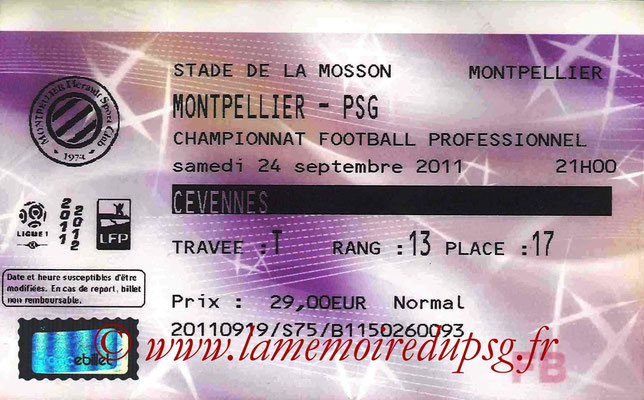 Tickets Montpellier-PSG  2011-12