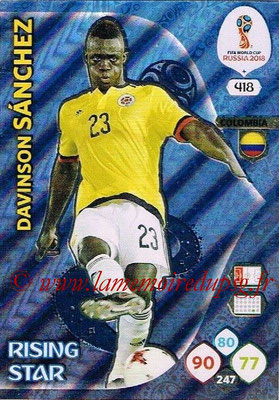 2018 - Panini FIFA World Cup Russia Adrenalyn XL - N° 418 - Davinson SANCHEZ (Colombie) (Rising Star)