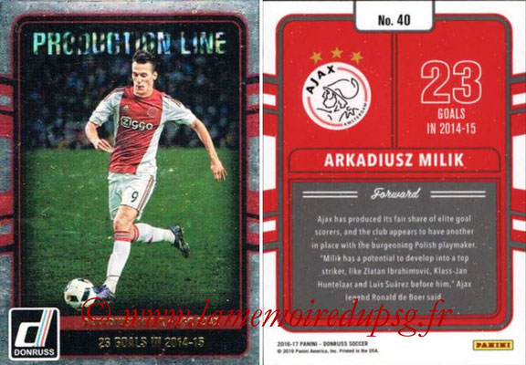 2016 - Panini Donruss Cards - N° PL40 - Arkadiusz MILIK (AFC Ajax) (Production Line)