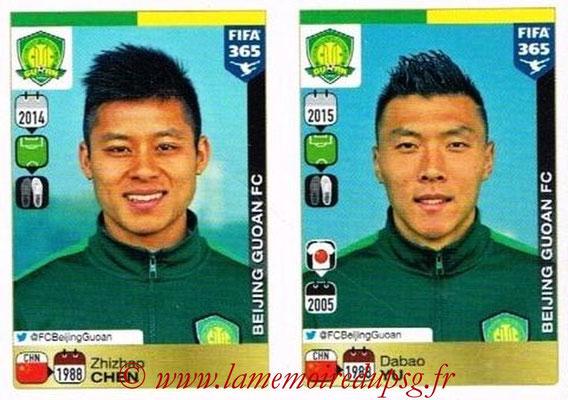 2015-16 - Panini FIFA 365 Stickers - N° 277-278 - Zhizhao CHEN + Dabao YU (Beijing Guoan FC)