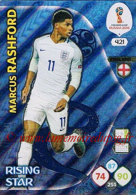 2018 - Panini FIFA World Cup Russia Adrenalyn XL - N° 421 - Marcus RASHFORD (Angleterre) (Rising Star)