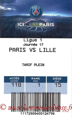 Tickets  PSG-Lille  2017-18