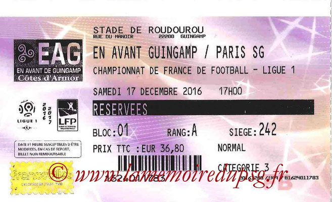 Tickets  Guingamp-PSG  2016-17