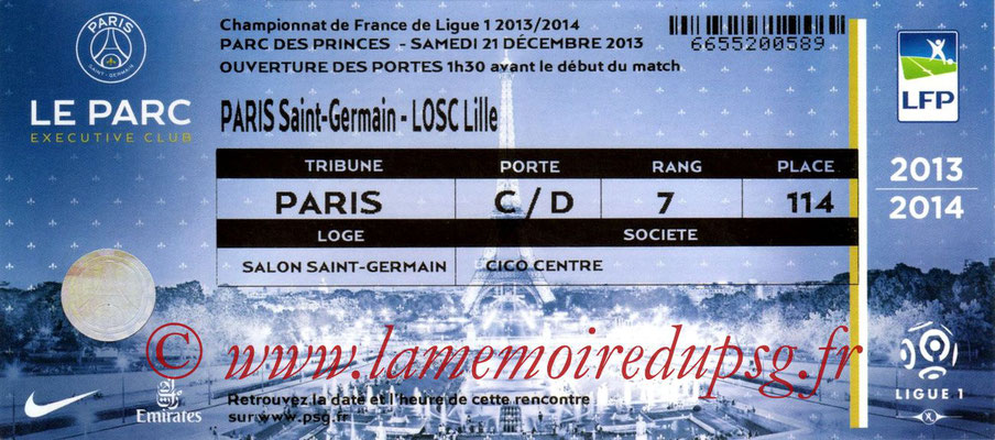 Tickets  PSG-Lille  2013-14