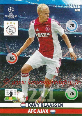2014-15 - Adrenalyn XL champions League N° 031 - Davy KLAASSEN (AFC Ajax)