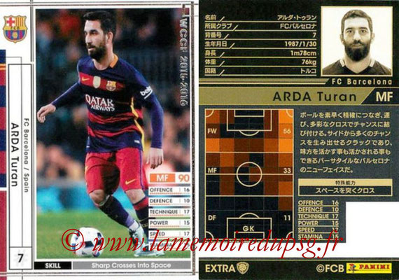 2015-16 - Panini WCCF - N° EXTRA15c - Arda TURAN (FC Barcelone) (Extra)