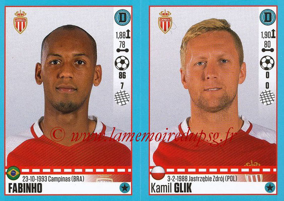 2016-17 - Panini Ligue 1 Stickers - N° 486 + 487 - FABINHO + Kamil GLIK (Monaco)