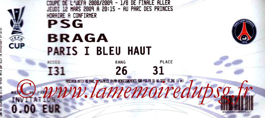 Tickets  PSG-Braga  2008-09
