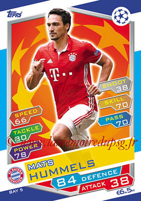 2016-17 - Topps UEFA Champions League Match Attax - N° BAY5 - Mats HUMMELS (FC Bayern Munich)