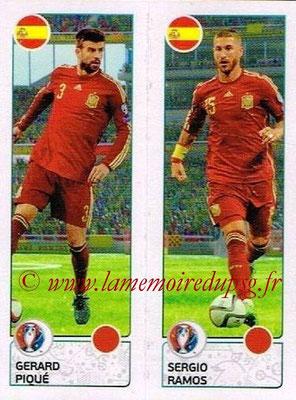 Panini Euro 2016 Stickers - N° 375 - Gerard PIQUÉ + Sergio RAMOS (Espagne)