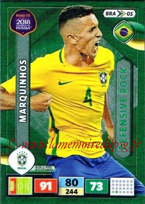 2018 - Panini Road to FIFA World Cup Russia Adrenalyn XL - N° BRA05 - MARQUINHOS (Brésil) (Defensive Rock)