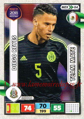 2018 - Panini Road to FIFA World Cup Russia Adrenalyn XL - N° MEX04 - Diego REYES (Mexique)