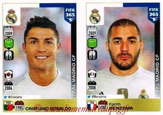 2015-16 - Panini FIFA 365 Stickers - N° 399-400 - Cristiano RONALDO + Karim BENZEMA (Real Madrid CF)