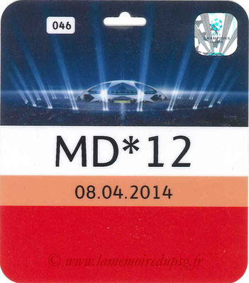 Badge sécurité  Chelsea-PSG  2013-14