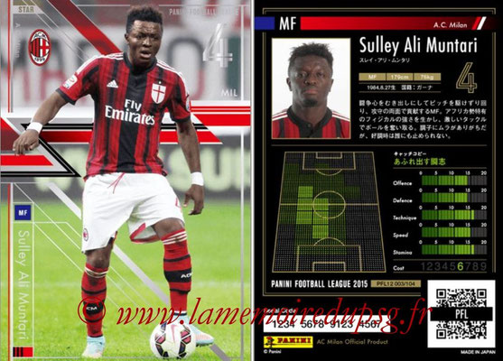 Panini Football League 2015 - PFL12 - N° 003 - Sulley ALI MUNTARI (Milan AC) (Star)
