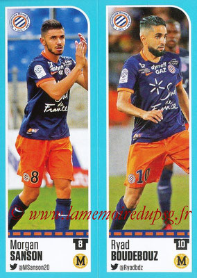 2016-17 - Panini Ligue 1 Stickers - N° 520 + 521 - Morgan SANSON + Ryad BOUDEBOUZ (Montpellier)