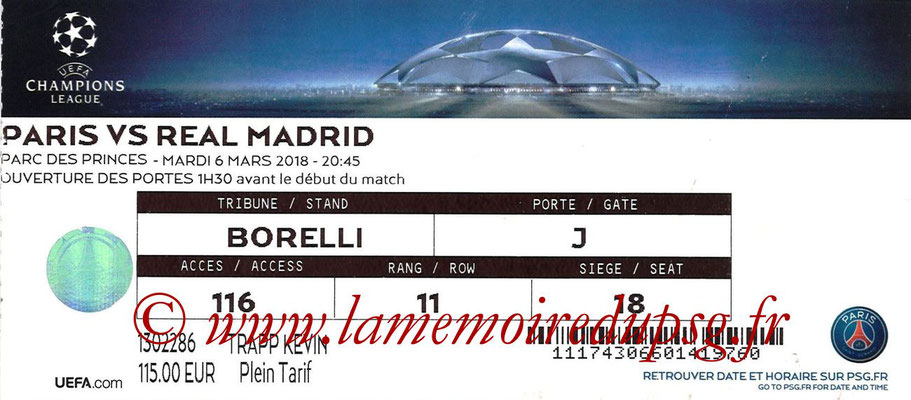 Ticket  PSG-Real Madrid  2017-18
