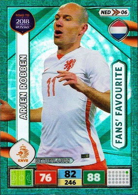 2018 - Panini Road to FIFA World Cup Russia Adrenalyn XL - N° NED06 - Arjen ROBBEN (Pays-Bas) (Fans' Favourite)