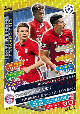 2016-17 - Topps UEFA Champions League Match Attax - N° S27- COMAN + MULLER + LEWANDOWSKI (FC Bayern Munich) (Forward Trio)