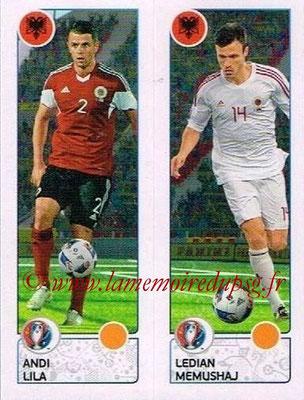 Panini Euro 2016 Stickers - N° 093 - Andi LILA + Ledian MEMUSHAJ (Albanie)