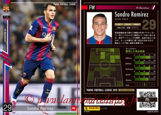 Panini Football League 2015 - PFL12 - N° 036 - Sandro RAMIREZ (FC Barcelone)