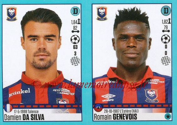 2016-17 - Panini Ligue 1 Stickers - N° 150 + 151 - Damien DA SILVA + Romain GENEVOIS (Caen)