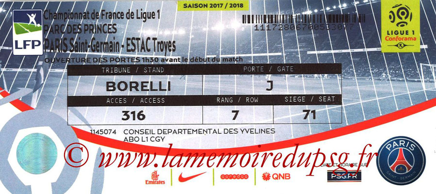 Tickets  PSG-Troyes  2017-18