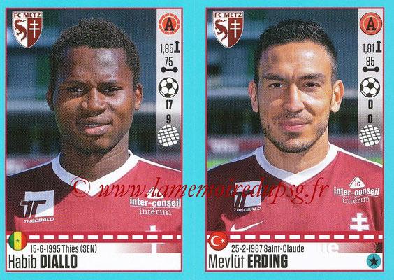 2016-17 - Panini Ligue 1 Stickers - N° 460 + 461 - Habib DIALLO - Mevlüt ERDING (Metz)