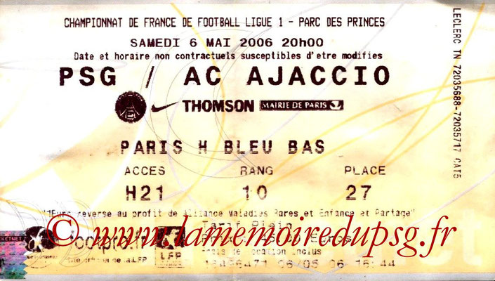 Tickets  PSG-Ajaccio  2005-06