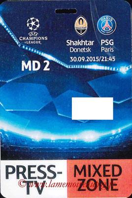 Badge presse  Shakhtar Donesk-PSG  2015-16