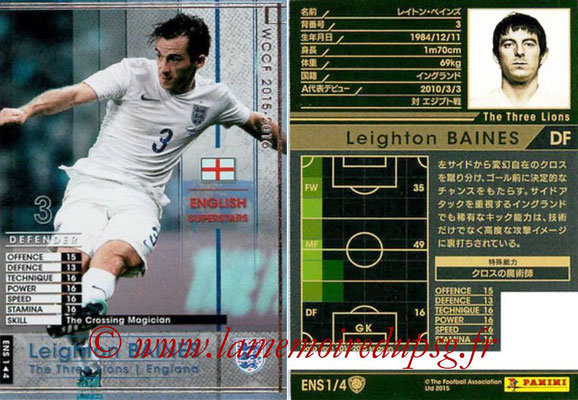 2015-16 - Panini WCCF - N° ENS1 - Leighton BAINES (Angleterre) (English Superstars)