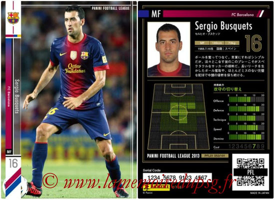 Panini Football League 2013 - PFL01 - N° 053 - Sergio Busquets ( FC Barcelona )