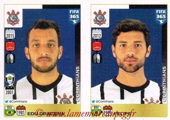 2015-16 - Panini FIFA 365 Stickers - N° 164-165 - Edu DRACENA + FELIPE (SC Corinthians)