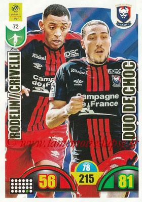 2018-19 - Panini Adrenalyn XL Ligue 1 - N° 072 - Ronny RODELIN + Enzo CRIVELLI (Caen) (Duo de Choc)