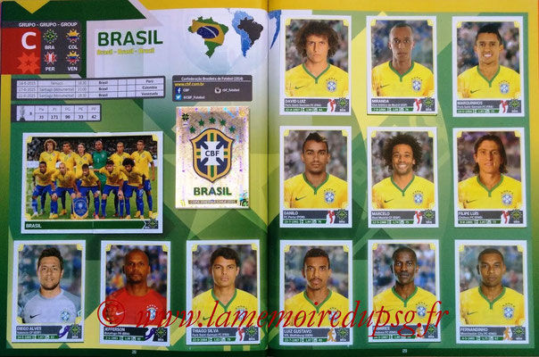 Panini Copa America Chile 2015 Stickers - Pages 28 et 29 - Brésil