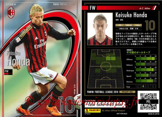 Panini Football League 2014 - PFL07P - N° 003 - Keisuke HONDA (Milan AC) (Star +)