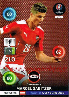 Panini Road to Euro 2016 Cards - N° 271 - Marcel SABITZER (Autriche) (Rising Star)