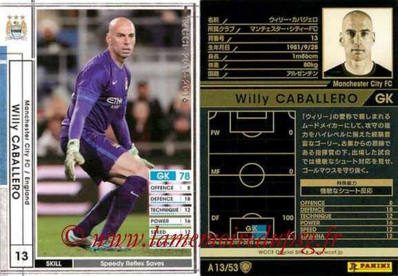 2015-16 - Panini WCCF - N° A13 - Willy CABALLERO (Manchester City FC)