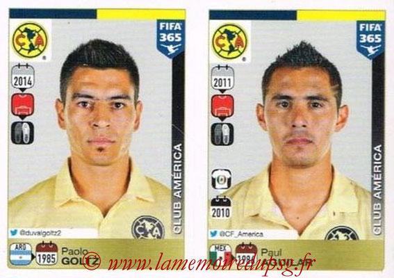 2015-16 - Panini FIFA 365 Stickers - N° 614-615 - Paolo GOLTZ + Paul AGUILAR (Club America)